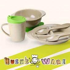美國 Husk'sWare 兒童稻殼餐具五件組 蘋果綠