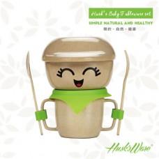 美國Husk'sWare兒童稻殼創意餐具組 蘋果綠