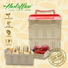 美國 Husk'sWare稻殼歐風洋樓造型野餐盒(豪華三層組)